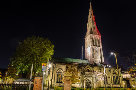 leicester: ENGLAND, LEICESTER - 01 NOV 2015: Leicester Cathedral by night Editorial
