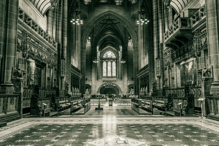 nave: ENGLAND, LIVERPOOL - 15 NOV 2015: Liverpool Cathedral nave A