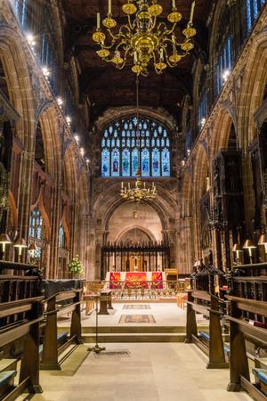 coro: Inglaterra, Manchester - 15 NOV 2015: coro de la catedral de Manchester