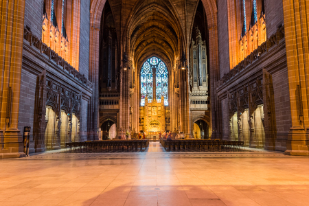 liverpool: ENGLAND, LIVERPOOL - 15 NOV 2015: Liverpool Cathedral nave Editorial