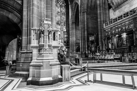 liverpool: ENGLAND, LIVERPOOL - 15 NOV 2015: Liverpool Cathedral pulpit B Editorial