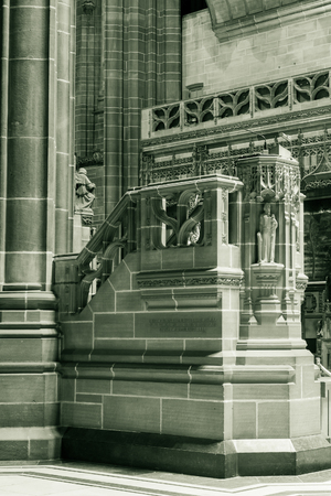liverpool: ENGLAND, LIVERPOOL - 15 NOV 2015: Liverpool Cathedral pulpit A Editorial