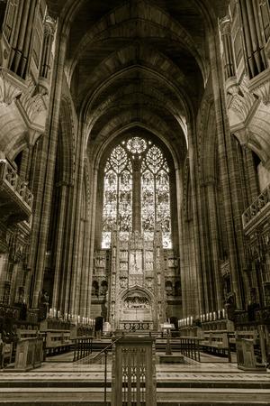 coro: Inglaterra, Liverpool - 15 NOV 2015: Liverpool coro de la catedral y de los órganos Editorial