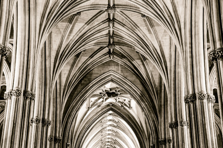 keystone: England, Bristol - 03 Sep 2016: Nave and Ceiling at Bristol Cathedral Columns Impost and Keystone HDR black and white horizontal photography split toning sepia tone Editorial