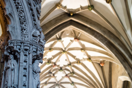 rood: England, Bristol - 03 Sep 2016: Sculpture Road Screen Bristol Cathedral Shallow depth of field