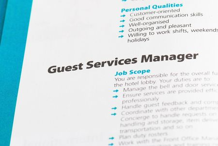 career fair: Occupation - Guest Services Manager 1 Stock Photo