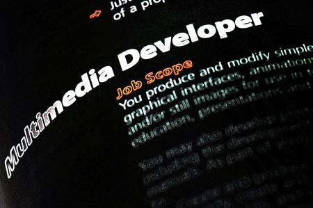 java script: Occupation - Multimedia Developer  Stock Photo