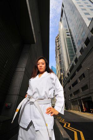 tae kwon do: Woman in Tae Kwon Do Belt 1 Stock Photo