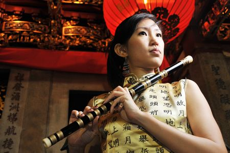 flute instrument: Female Portraits in Oriental Theme
