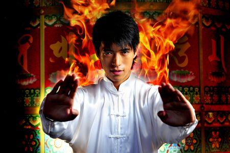 Young Asian Man Training Martial Arts Foto de archivo