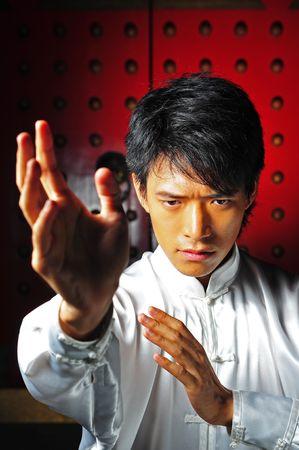 Jonge Aziatische Man Opleiding Martial Arts
