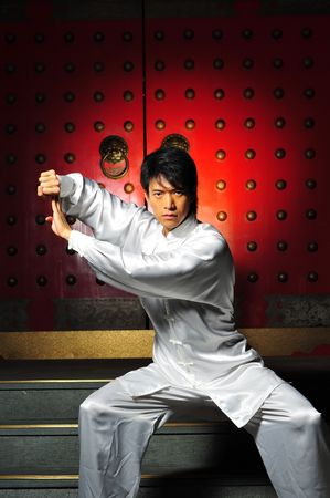 Young Asian Man Training Martial Arts Stock Photo