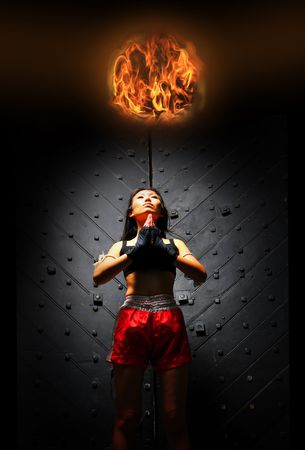 Asian Woman With Super powers Stock Photo