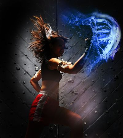 thai kick boxing: Asian Woman With Super Power Stock Photo
