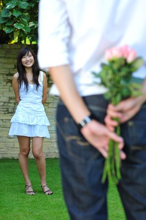 Couple In Love Courting In The Park Stock Photo