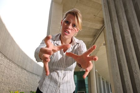 Caucasian Woman In Smart Casual getting angry Stock Photo