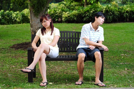 argues: Young Asian Couple in Love  Stock Photo