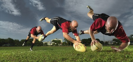 scoring: multiple images of rugby player scoring