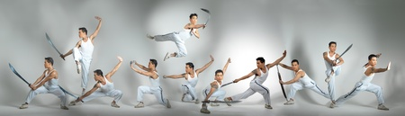 Kungfu Fighters in multiplicity Stock Photo