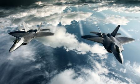La imagen digital de avión militar haciendo un vuelo en la actitud de alta