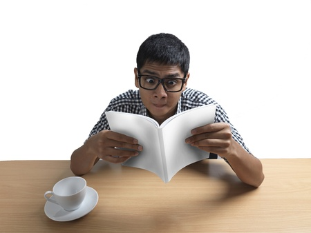 Asian Indian Man studying isolated