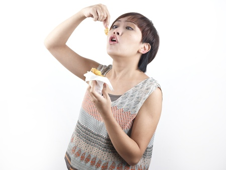 Picture of a greedy girl eating