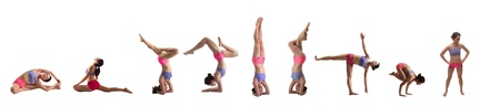 headstand: Asian Chinese Girl doing yoga isolated