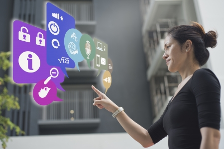Picture of an asian woman using wifi icons on the go