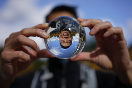 portraiture: Funny picture of asian man outdoors