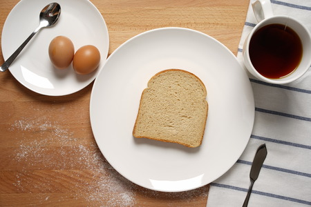 multi grain sandwich: Scene from a breakfast table with staple food Stock Photo
