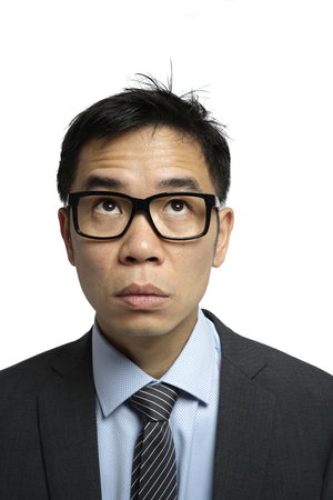 officeworker: Asian salary man in isolated background with different expression