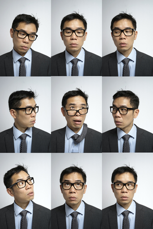 multiple images: multiple images of asian man in different expression