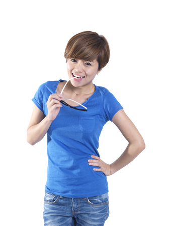 tomboy: Asian tomboy female girl in blue top