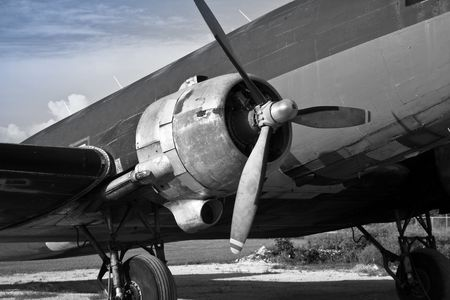 Vintage Radial Engine Grayscale photo