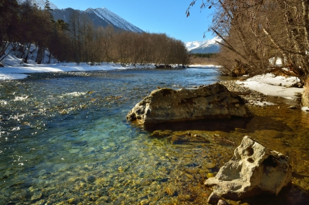 The sunny landscape in Caucasus in winter photo