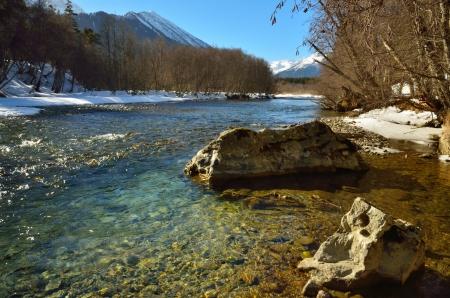 The sunny landscape in Caucasus in winter Stock Photo - 17894288
