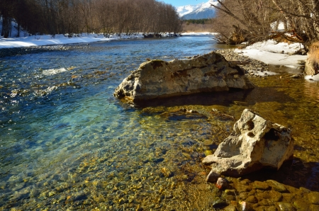 The mountains river in Caucasus in winter photo