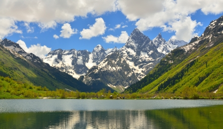 This is spring landscape in Caucasus mountains Stock Photo - 19891507