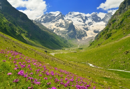 This is sunny day in Caucasus  valley photo