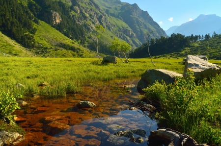 This is colorful valley in Caucasus mountains photo