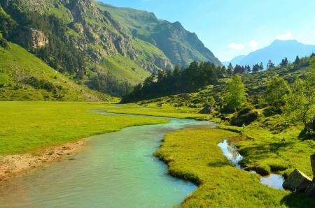 Este es el río emmerald en el Cáucaso valle verde