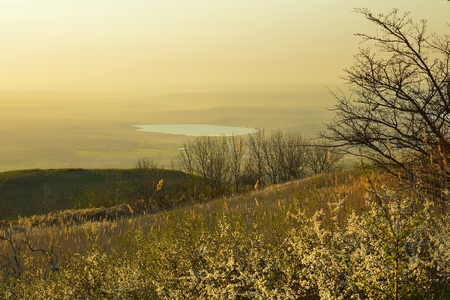 Evening landscape in Caucasus heath in spring photo
