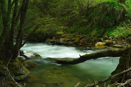 This is small river in Caucasus mountains in spring photo