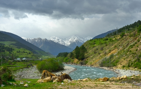 This is Kuban valley in Caucasus mountains in  spring  photo