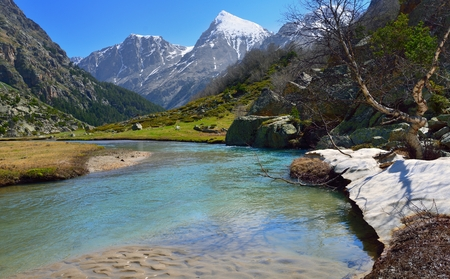 This is colorful valley in Caucasus mountains in spring photo