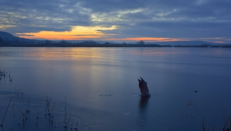 frozen lake: This is frozen lake in Caucasus landscape in winter