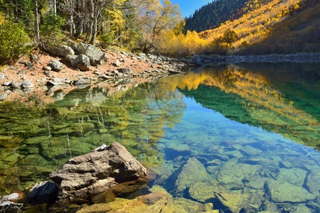 This is transparent water in Caucasus mountains in fall photo
