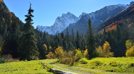 This is sunny day in Caucasus valley in autumn photo