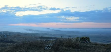 colorful sunrise: This is colorful sunrise in Caucasus landscape in winter Stock Photo