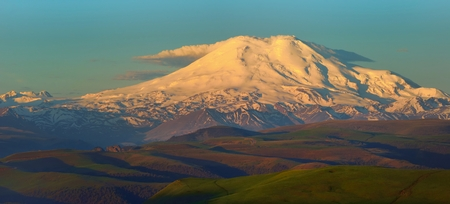 elbrus: This is colorful Elbrus in Caucasus mountains in morning